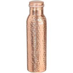 Copper Water Bottle (950ml) with Ayurvedic Health Benefits - 100% Pure Copper Vessel - Hammered Finish